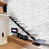 Rameng Papier Peint Briques 3D Stickers Autocollant Muraux Décoration pour Chambre Salon (B)
