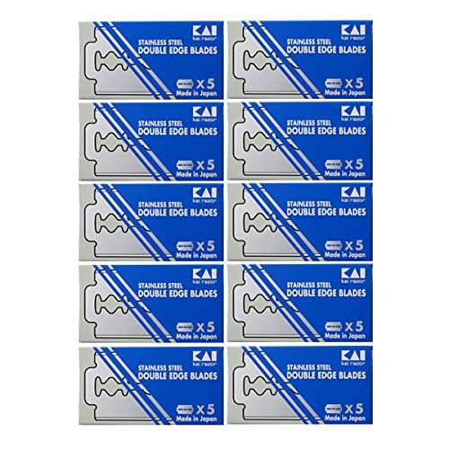 50 KAI Stainless Steel Double Edge Safety Razor Blades by Kai (Steel Stainless Double Edge Razor)