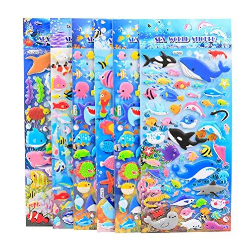 STOBOK 10 Blätter 3D Cartoon Meerestier Aufkleber Delphin Fisch PVC Blase Puffy Aufkleber für Kinder - Ocean Blatt