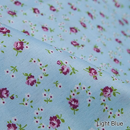 Neotrims Classic English Rose Buds Printed Floral Fabric in 5 Soft Pastel Shades. Fat Quarters and By the Meter. Amazing Cheap Wholesale Price for Woven Materail. For Apparel, Crafts, Home Furhinshings & Decoration. Patchwork Quilt Making! - Light Blue - 1 Meter (150Cm Wide) by Neotrims Woven Prints Fabrics (Quilts Ribbon Blue)