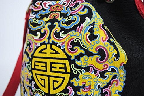Borsa A Tracolla Lantra Besa Canvas Bag Per Donne E Ragazze By0002 - V14 Green Flowers V08