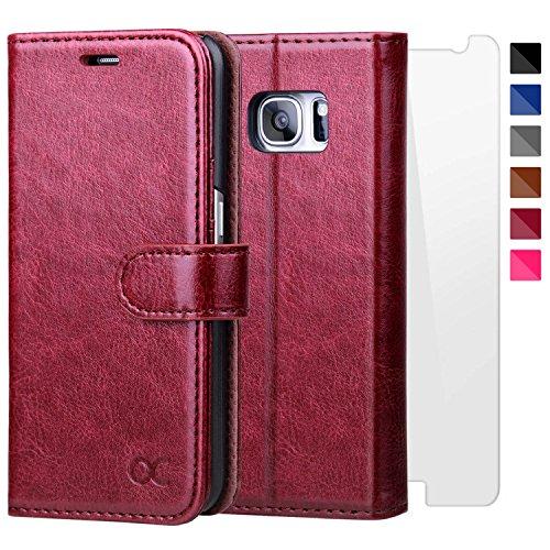 OCASE Samsung Galaxy S7 Hülle, Handyhülle Samsung Galaxy S7 [ Gratis Panzerglas Schutzfolie ] [Premium Leder] [Standfunktion] [Kartenfach] [Magnetverschluss] Leder Brieftasche für Galaxy S7 Burgundy
