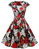 Homrain Damen 50er Vintage Retro Kleid Party Kurzarm Rockabilly Cocktail Abendkleider Black Rose Skull M