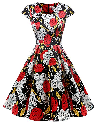 Homrain Damen 50er Vintage Retro Kleid Party Kurzarm Rockabilly Cocktail Abendkleider Black Rose Skull 4XL