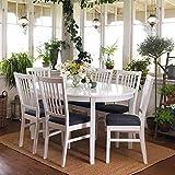 Pharao24 Esstisch mit Stühlen im skandinavischen Design Weiß Grau