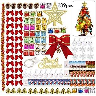 Weihnachtsbaum-Deko-Bageek-138PCS-Weihnachtsschmuck-Set-mit-LED-Licht-Einschlielich-weihnachtsbaum-kugeln-Geschenkboxen-Pine-Cones-Drum-Bell-Dekosterne