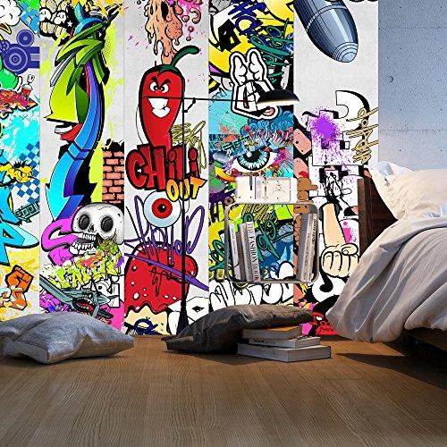 murando - PURO TAPETE - Realistische Tapete ohne Rapport und Versatz - Kein sich wiederholendes Muster - 10m Vlies Tapetenrolle - Wandtapete - modern design - Fototapete - Graffiti f-A-0257-j-a