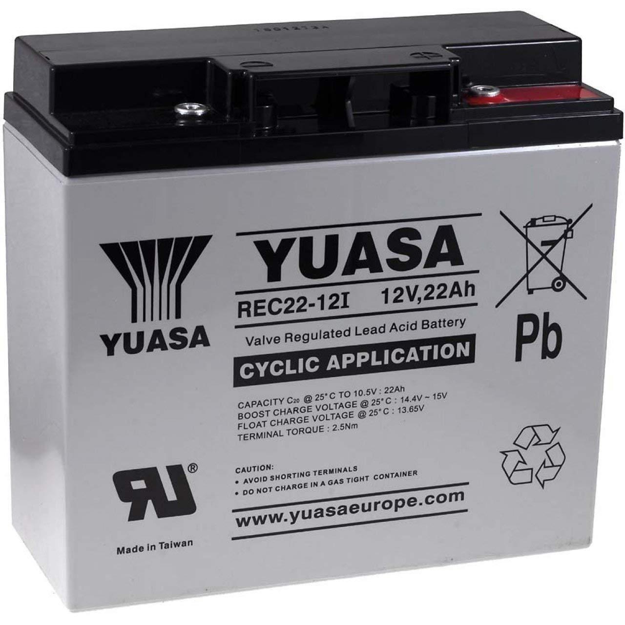 Yuasa Ersatzakku für Solaranlagen Reinigungsmaschinen Hebebühnen 12V 22Ah zyklenfest, 12V, Lead-Acid