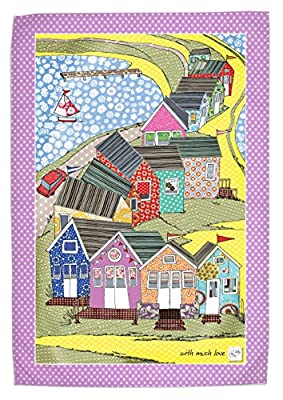 Beach Huts, MollyMac Tea Towel