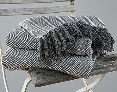 COUNTRY CLUB Couvre-lit/Couverture Como en Coton avec Motif à Chevrons Gris, Coton, Gris, 170 cm x 200 cm