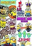 10 Blätter von Minions Tattoo's, 4 Zoll x 3 Zoll In Größe. Ideal für Party Bag Fillers / Füllungen / Gefälligkeiten und Pinata-Preise.