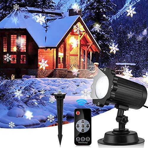 EleLight Weihnachten Projektor Beleuchtung, Wasserdichte Licht Projektor Schneeflocken Bilder mit Fernbedienung für Hochzeit, Urlaubsparty-Dekorationen verziert IP65