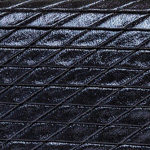 CASPAR TA396 Donna Pochette Brillante con Motivo a Rombi Blu scuro