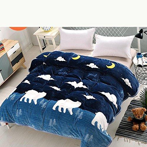 YAOHAOHAO Marine Blau Tier Bild Bed Decke Decke Flanell Verdickung Warm halten Schüler Winter Blatt (Größe: 200 * 230 cm) - Acryl-marines Decke