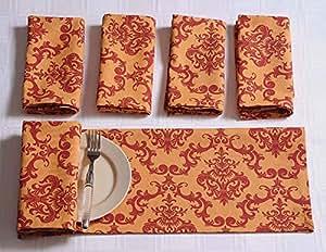"""Patterned coton serviettes de table - 20 """"x 20"""" - Ensemble de 12 premium linge de table pour la salle à manger - Orange et rouge de damassé"""