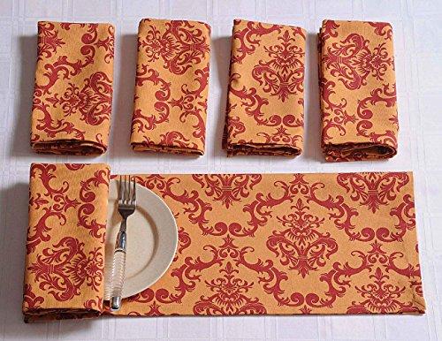 (ShalinIndia Baumwolle Servietten Set von 6; Gebrannte Orange Maroon Floral Print; Tischwäsche Frühlingsschmuck)