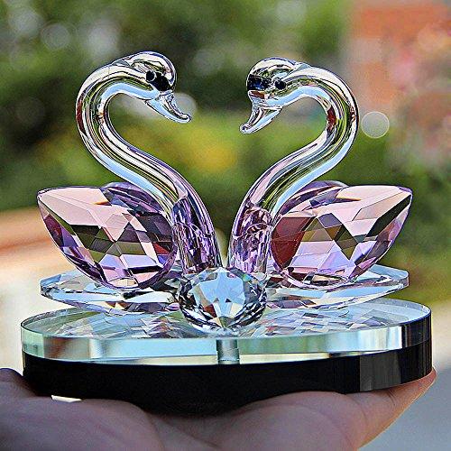 Kristallglas Tier Schwan Figuren Briefbeschwerer Feng Shui Handwerk Figur Kunst & sammlung Für Zuhause Hochzeit Decor Kinder Geschenke (Rosa)