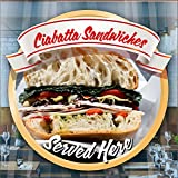Ciabatta Sandwich Catering Fenster Cafe Geschäft Restaurant Aufkleber Sign Decal by Inspired Walls®