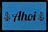 SCHMUTZMATTE Fußmatte AHOI Maritim Anker Türmatte Geschenk Einzug Flur 60x40 cm Royalblau