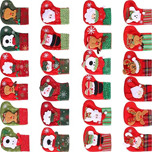 JZZJ 24 Pieces Mini Christmas Stockings, 3D Santa Snowman Silverware Holders, Little Christmas Stockings Gift and Treat Bags Christmas Hanging Socks for Xmas Tree, Home, Garden Decoration by