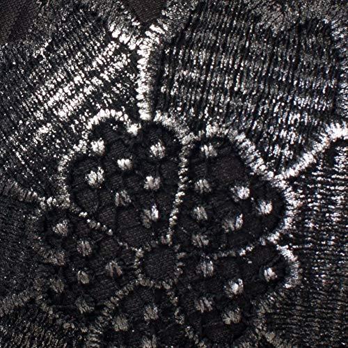 She'sModa Damen Bustier Korsett Froal Spitze Club Party Crop Top BH Weste mit verstellbaren und abnehmbaren Trägern - Silber - Klein - 4