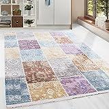 Hochwertiger Teppich Vintage Stil Patchwork und Fransen, 5 Groessen Grau Blau Gelb Pink Lila Orange Meliert Wohnzimmer, Gästezimmer, Flur, Schlafzimmer, Läufer, Größe:120x180 cm