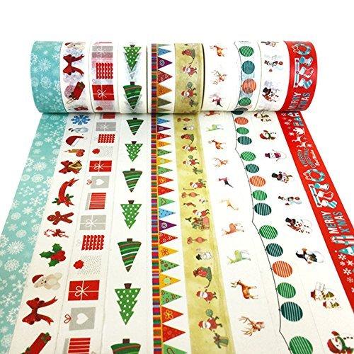 ekorative Washi Tape, Set von 10Rollen, Sortiment von Weihnachten Urlaub Designs und Formen 0.6