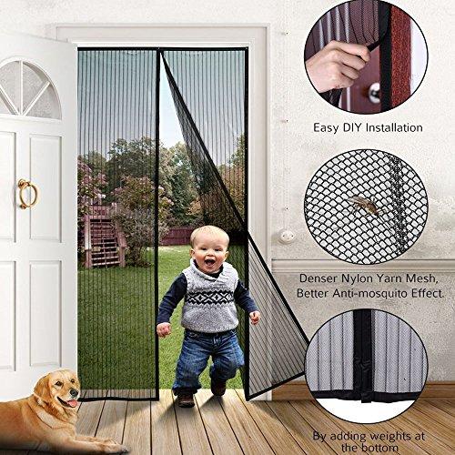 Aottop Fliegengitter Tür Insektenschutz Vorhänge Magnetvorhang Magnetischer Fliegenvorhang Moskitonetz für Türen/Balkontür, 90 x 210 cm, Schwarz