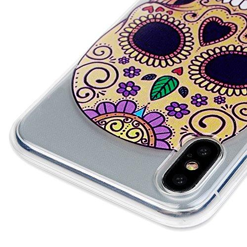 iPhone X Hülle Badalink Gemalt TPU Kranz Case Cover Ultraslim Handyhülle Schutzhülle Silikon Bumper Schutz Tasche Schale Antikratz Backcover Schädel