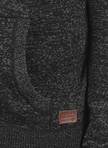 BLEND Danny Herren Kapuzenpullover Strickpullover aus weicher Baumwoll-Mischung Black