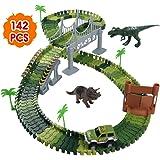 Nuheby Autorennbahn Rennbahn für Kinder Dinosaurier Spielzeug ab 3 4 5 6 Jahren Junge Mädchen,142 Stück Flex Tracks mit Jurassic Park Dinosaurier Figuren