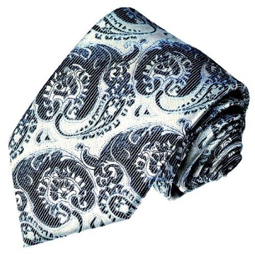 LORENZO CANA - Luxus Krawatte aus 100% Seide - Marken Seidenkrawatte Silber blau braun Floral Paisley - 42045 (Nadelstreifen Mantel Anzug)