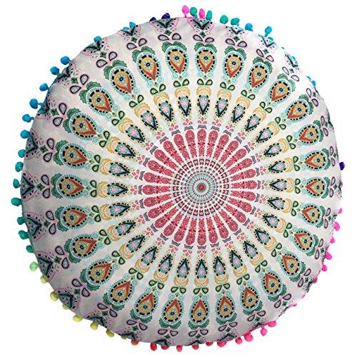 THEE Runde Bodenkissen Bezug Sitzkissen Bezüge Rückenkissen Bohemien Stil Kissen Durchmesser 40cm -