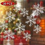 Uten 30 STK Weihnachten Schneeflocken Stern Schnee 13cm mit Mit Flash-Power Weihnachtssterne Dekostern Fensterdeko Tischdeko (Silber)