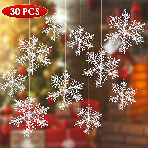 Mbuybow 30 pezzi fiocchi di neve di natale, pezzi bianco fiocco di neve alberi di natale decorazioni (13 cm)