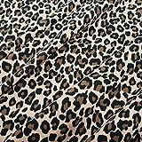 Stoff Baumwolle Jersey Meterware Leo beige animal print Kleiderstoff Leo Look Leopard Gepard