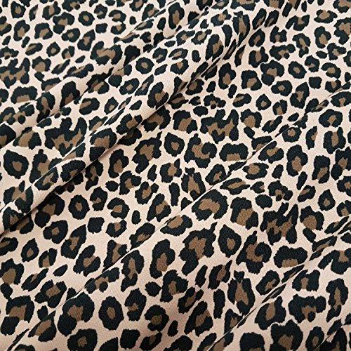 Stoff Baumwolle Jersey Meterware Leo beige animal print Kleiderstoff Leo Look Leopard...