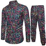 Slim Fit Langarmhemd Herren Business Shirt Druck Bluse Top + Hosen Men's Ethnic Print Langarm-Shirt und Hosen-Set