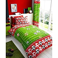 T&A Textiles and Hosiery Ltd Goal Football Single Duvet Cover and Pillowcase Set - Red