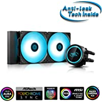 """Deepcool GAMMAXX L240T Blue LED Lighting AIO Cooler with """"Anti-Leak Tech Inside"""" System, Two PWM Fans with Powerful…"""