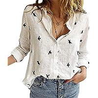 Angel ZYJ Camicia Donna Elegante Manica Lunga Primavera Estive Bottoni Chiffon Bluse Elegantei Casual Stampa Taglie…