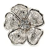 Anillo grande ajustable ''Margarita'' texturizado de cristal en metal plateado quemado-40mm de diámetro