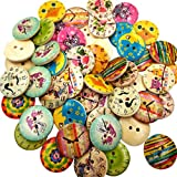MagiDeal Pack of 50 Mixed Colorful Printed Round 2 Holes Wooden Buttons for Sewing Crafting 20mm