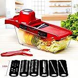 LeRan Ensalada Cortador de Alimentos Chopper Vegetal Fruta Licuadora de Mano Cortadoras con Contenedor a Profesional Herramientas de Cocina Apto para Todos Sus Cortes (Rojo)