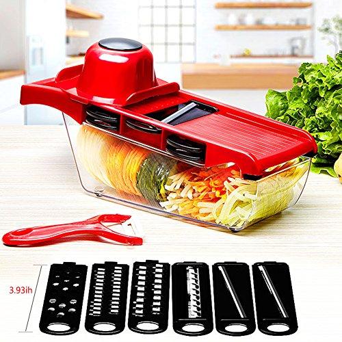 LeRan Salatschneider Lebensmittel Chopper Gemüse Obst Hand Mixer Slicers mit Behälter eine Professionelle Küche Werkzeuge Geeignet für Alle Ihre Schnitte (Rot) (Gurken Auge Liebe Gurken)