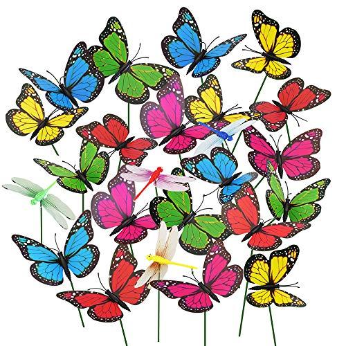 CODIRATO 20 Pcs Papillons de Jardin Coloré et 4 Pcs Libellules Coloré  Papillons sur Bâtons pour Décoration de Parterre de Fleurs, de Pot de  Fleurs ...