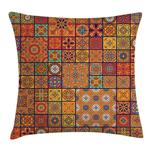 LULABE Vintage Throw Pillow Cushion Cover, Flower Decorations Lacework Old Aged Distressed Antique Display, Decorative Square Accent Pillow Case, 18 X 18 inches, Teal Light Yellow Dark Brown -