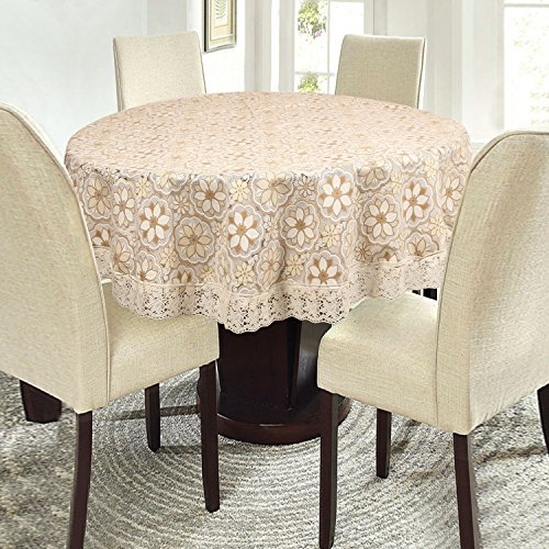 E-Retailer Stylish Waterproof 4 Seater Round Table Cover with White Lace (60...