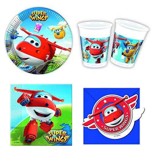 42-teiliges Super Wings Party-Set inkl. Pappteller, Kunststoffbecher und Papierservietten [Import allemand]