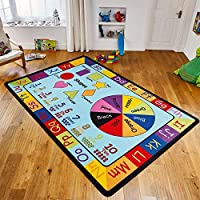 Nursery Educational Learning Colour, Numbers, Alphabet and Shape Rugs For School Classrooms, Childrens Nurseries and Play Areas - Bright Large and Small Kids Rug